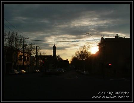 die Sonne geht unter über Melbourne
